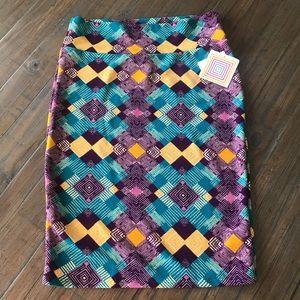 LuLaRoe L new purple/gold/turquoise Cassie skirt